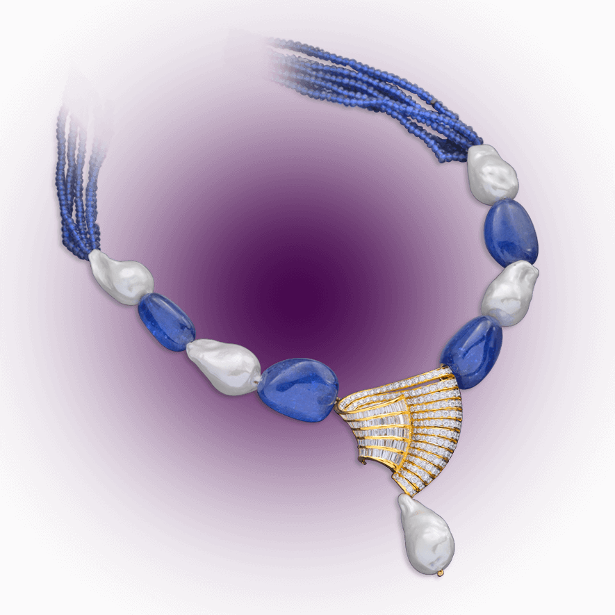 Contemporary Tanzanite Diamond Necklace