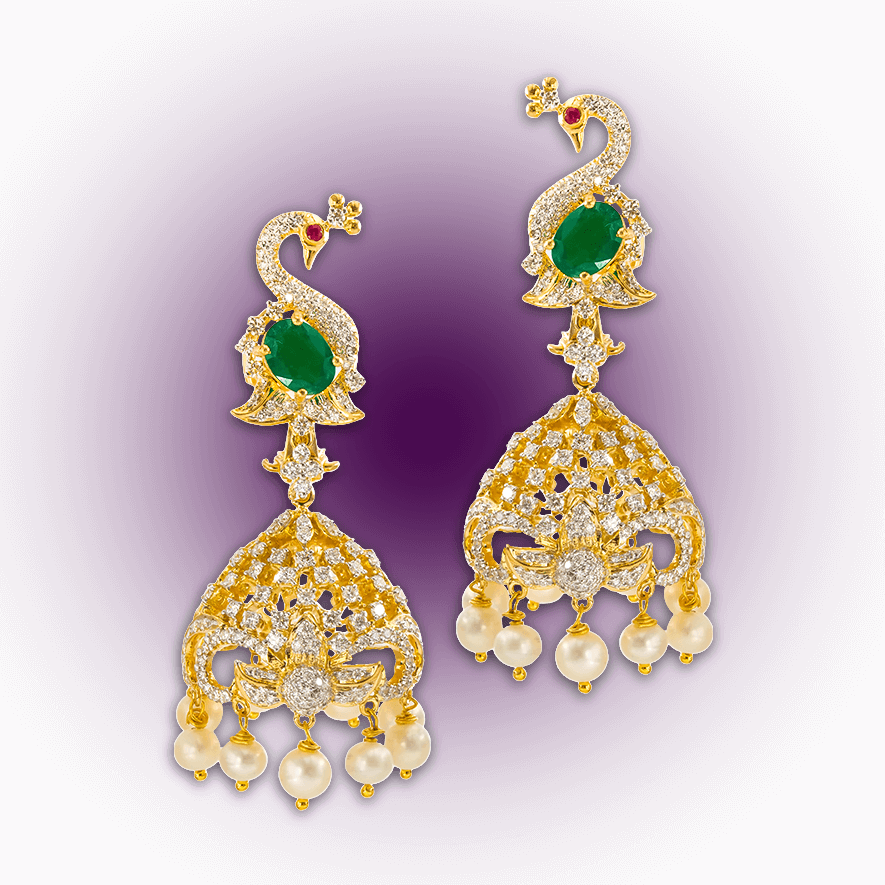 Diamond Peacock Jhumki