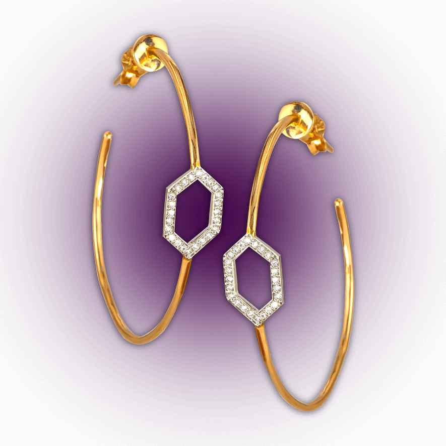 Diamond Studded Hoops
