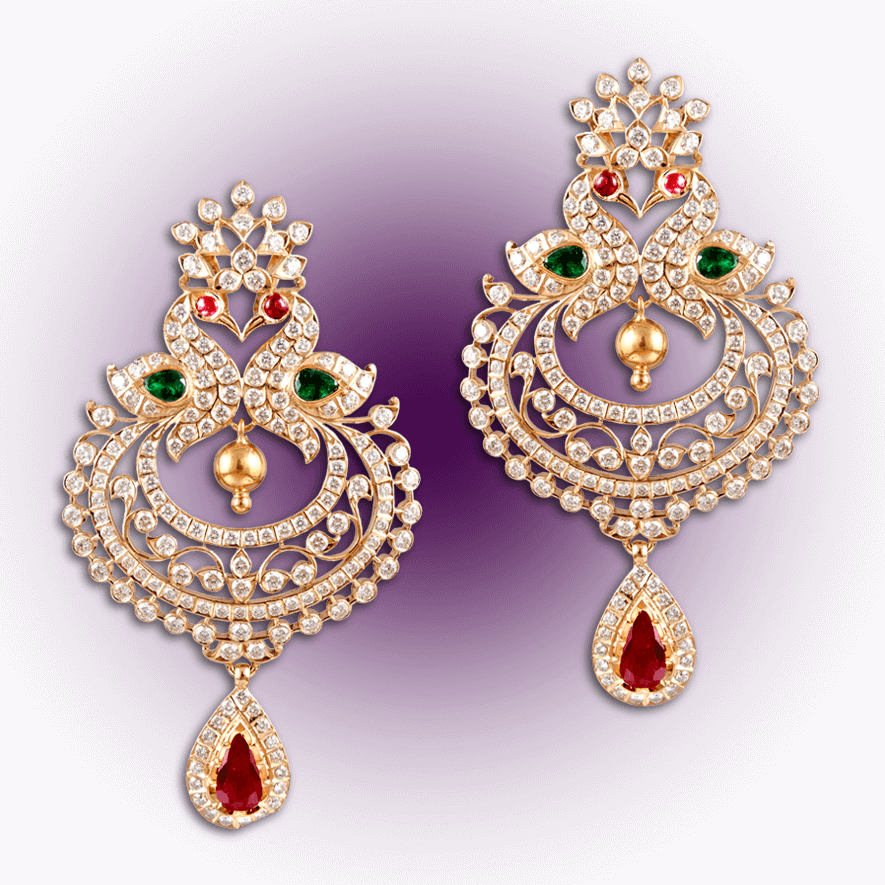 Regal Peacock Diamond Earrings