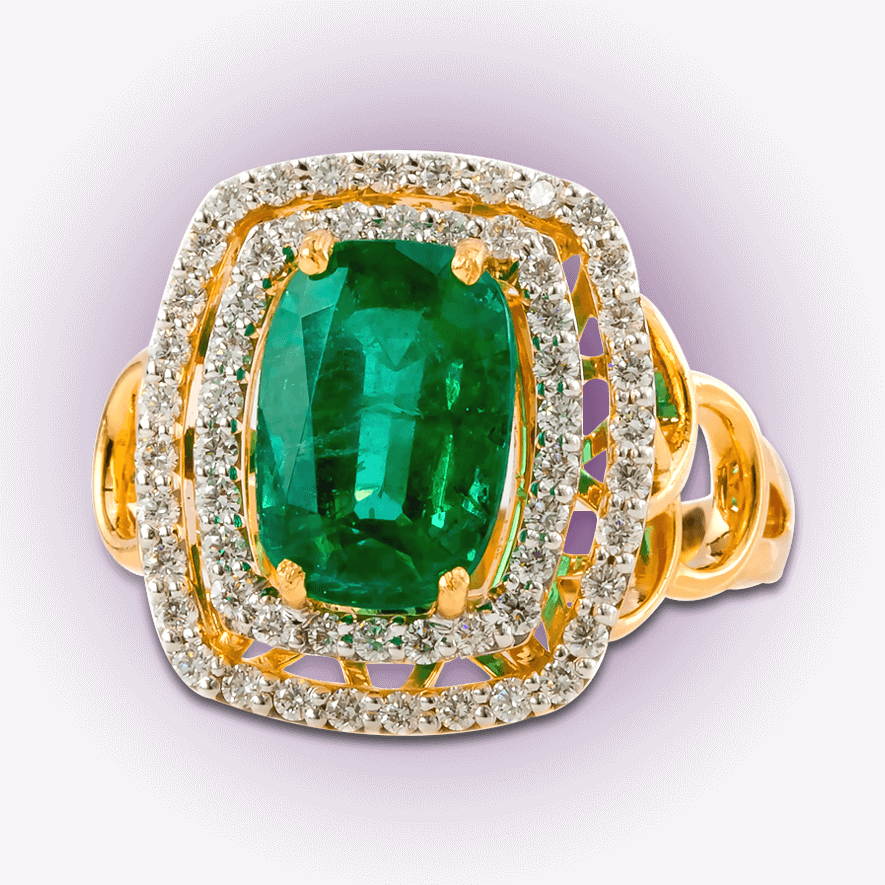 Stylish Emerald Cocktail Ring